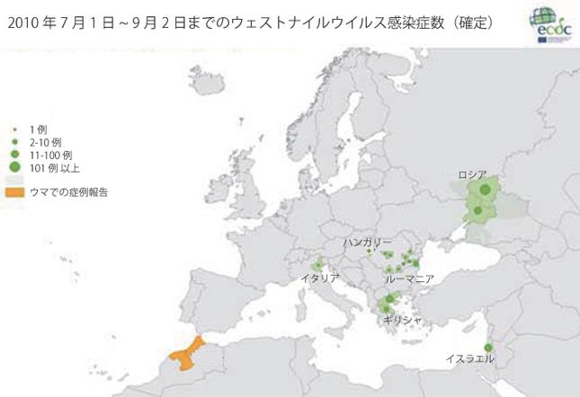 図、2010年7月1日~9月2日までのウェストナイルウイルス感染症数(確定)