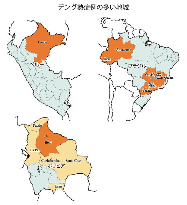 図.デング熱の多い地域