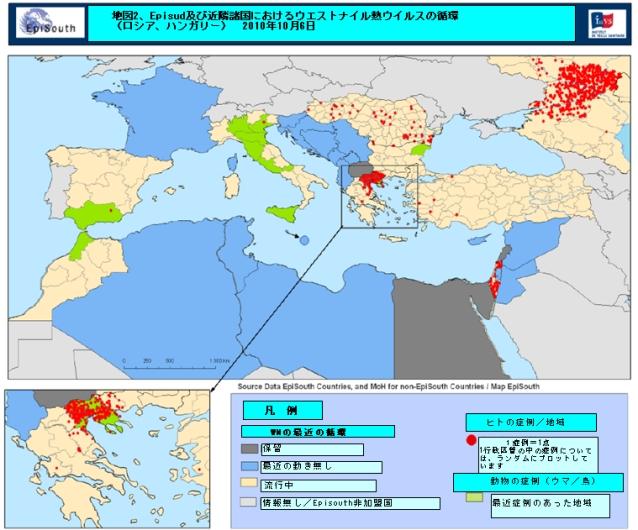 図.地中海地域におけるWNVの循環