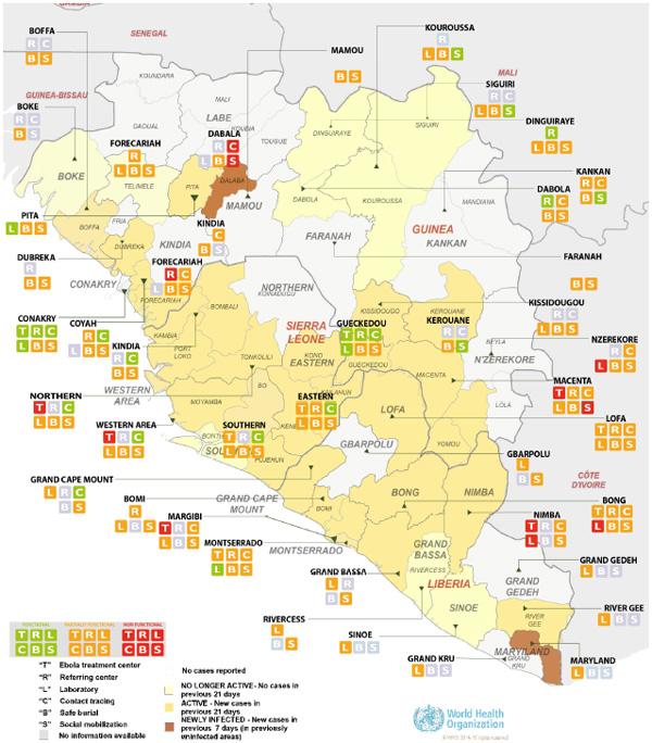 図,ギニア、リベリア、シエラレオネに対する対策の監視体制