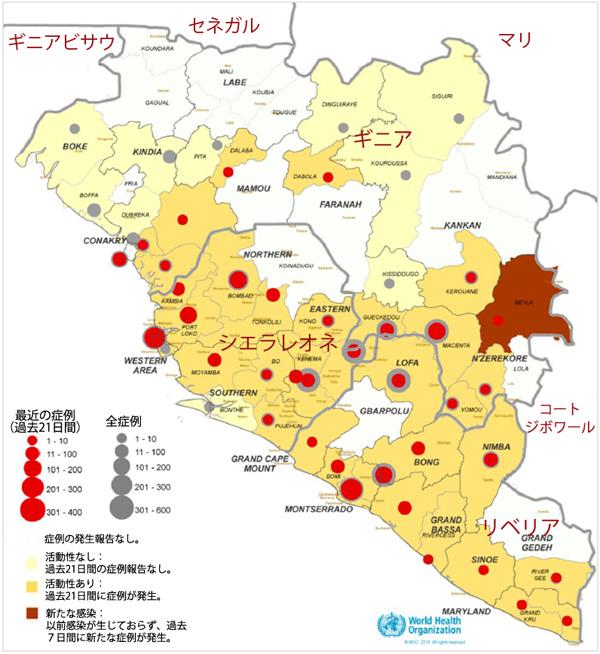 図4、広範囲に及ぶ深刻な感染の伝播が生じている国における症例の位置