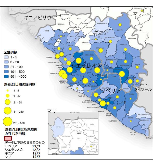図,ギニア、リベリア、マリ、シエラレオネにおけるエボラウイルス病の新規および累積の診断確定および可能性の高い患者数の分布図